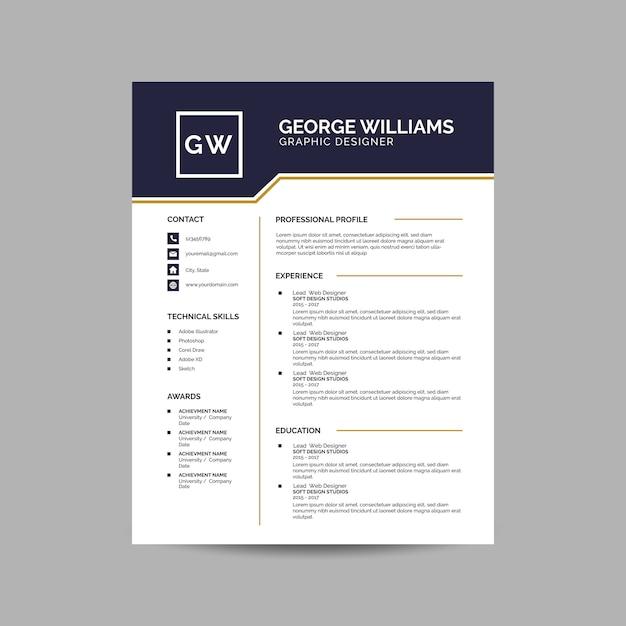 Elegant resume template Premium Vector