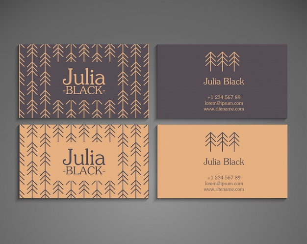 Elegant Retro Business Card Template Vector Free Download