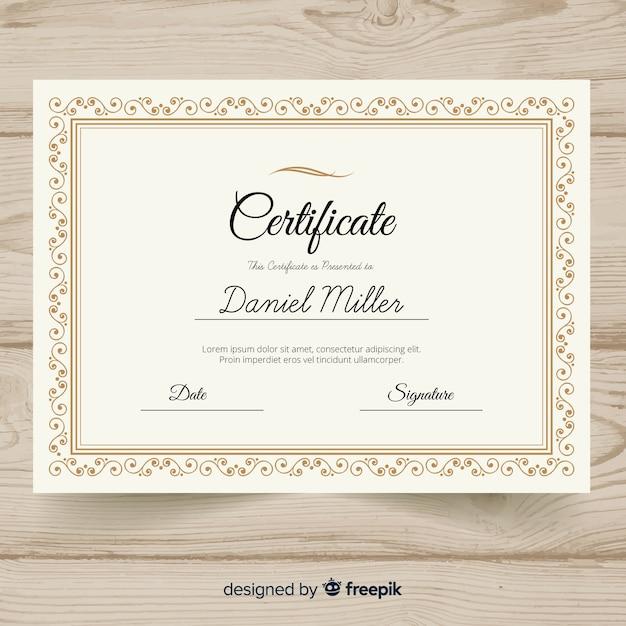 Elegant retro certificate template Free Vector