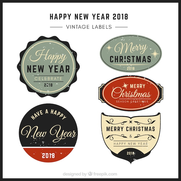 Elegant retro christmas and new year stickers pack