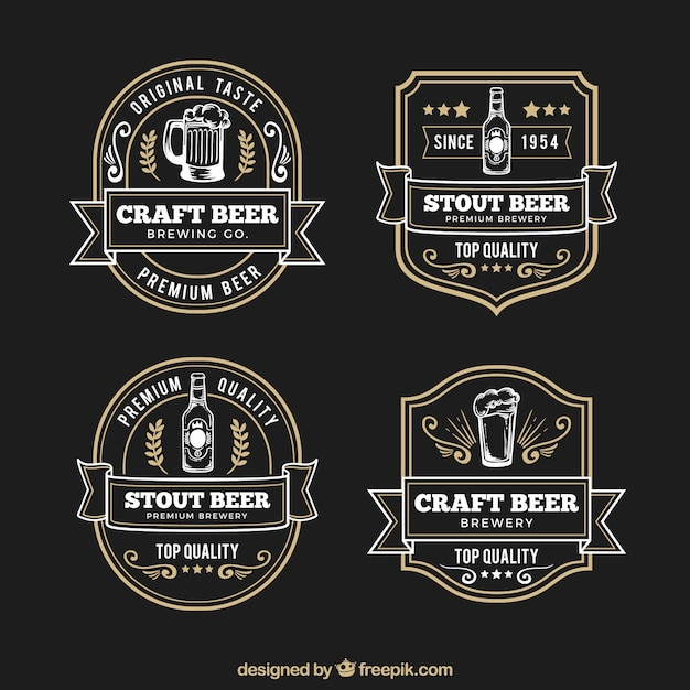 Elegant retro hand drawn beer labels Free Vector