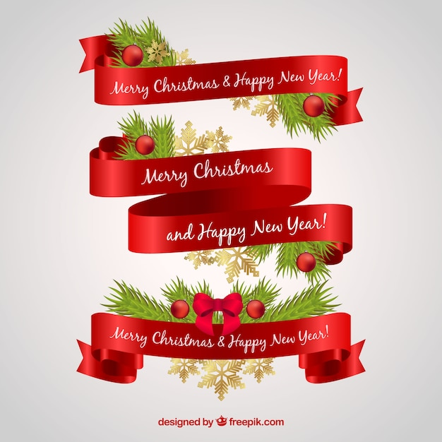 elegant ribbons for merry christmas and new year vector free download