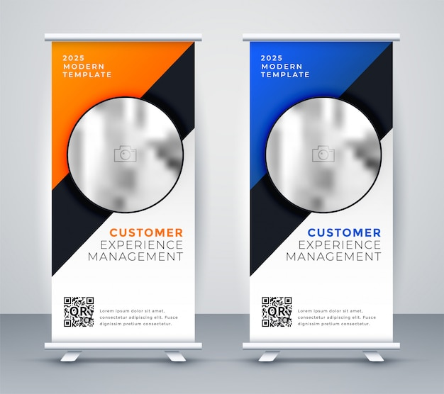 Elegant roll up standee presentation banner Free Vector