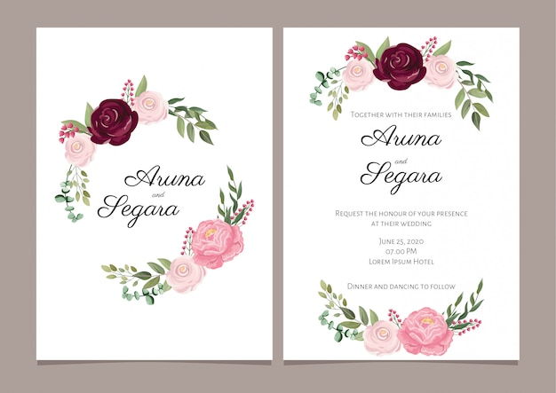Elegant rose flower wedding invitation card template Premium Vector