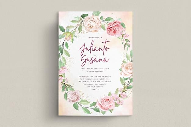 Элегантные розы свадебные приглашения набор карт Premium векторы