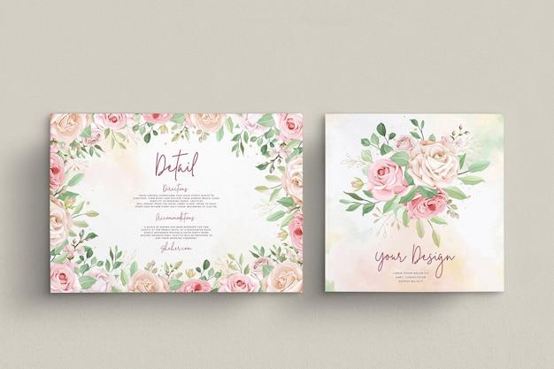 エレガントなバラの結婚式の招待カードセット Premiumベクター