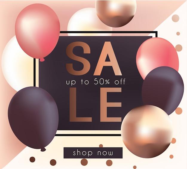 Elegant sale banner with realistic glossy metallic balloons Premium Vector