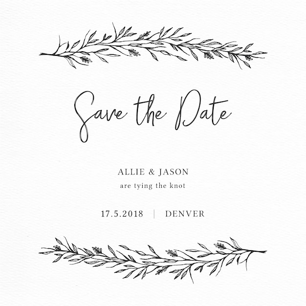 Elegant save the date card with hand drawn branches Free Vector