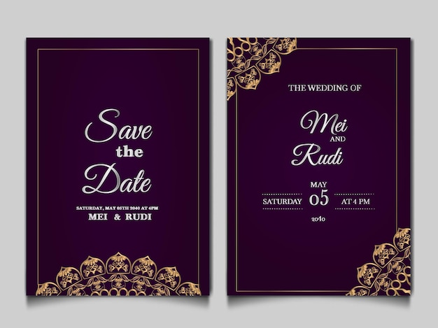 Elegant save the date wedding invitation card set Free Vector