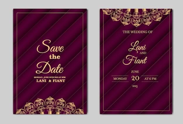 우아한 날짜 결혼식 초대 카드 저장 무료 벡터