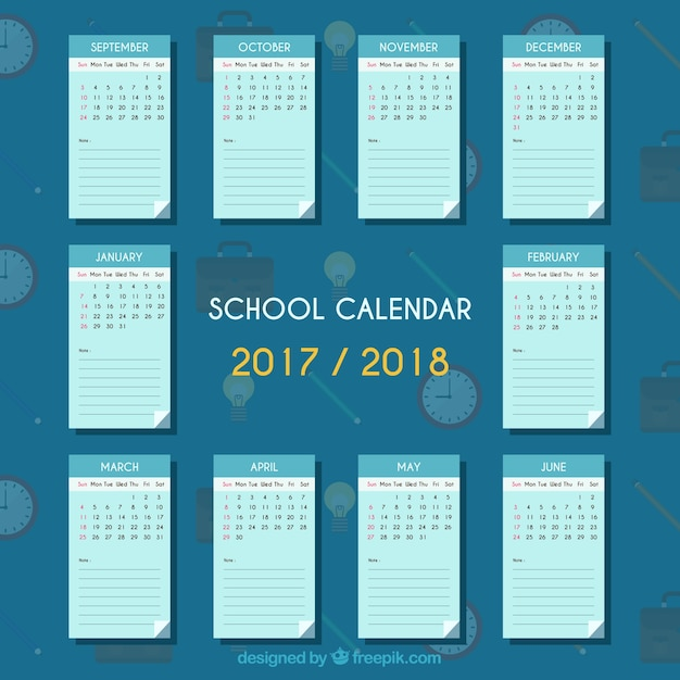 Elegant school calendar with flat design