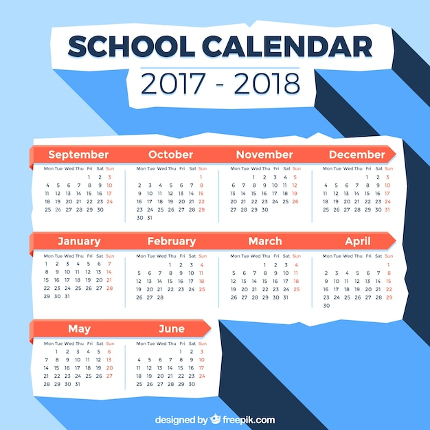 Elegant school calendar with flatdesign