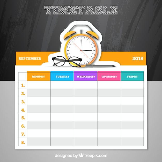 Elegant school timetable Free Vector