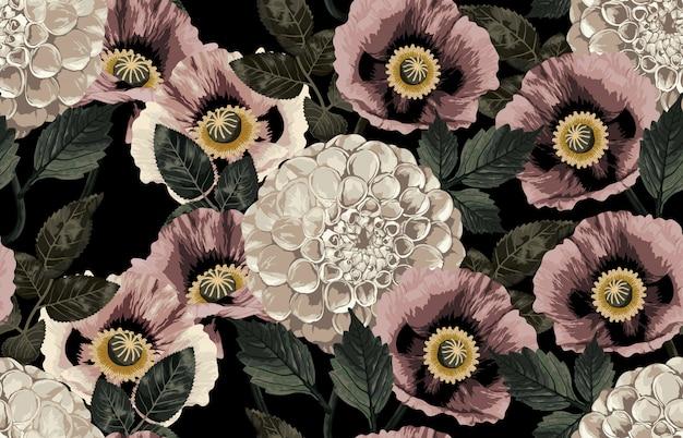 Elegant seamless pattern of blush toned rustic roses Premium Vector