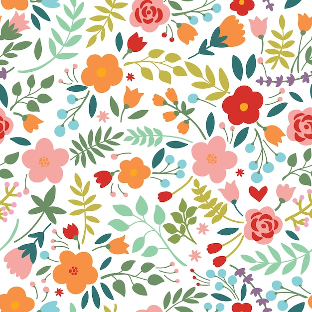Elegant seamless pattern with flowers Premium Vector