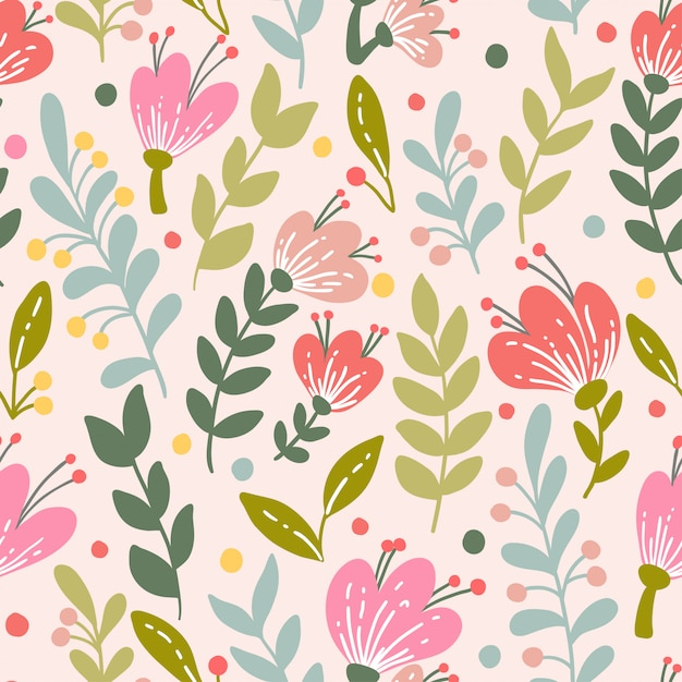Elegant seamless pattern with pink flowers Premium Vector