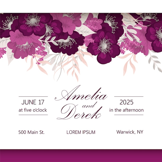 Elegant seasonal dark flowers vector design wedding frame Premium Vector