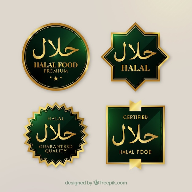 Elegant set of halal food labels with golden style Free Vector