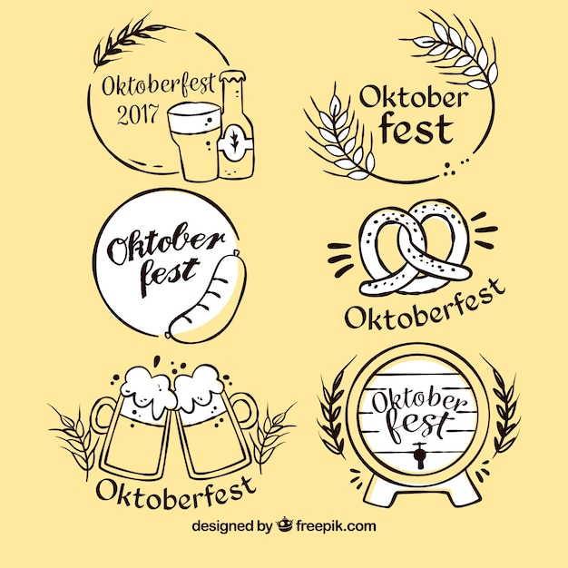 Elegant set o hand drawn oktoberfest labels Free Vector