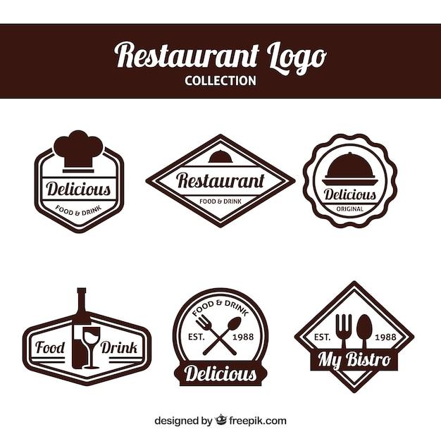 Elegant set of restaurant logos with badge design