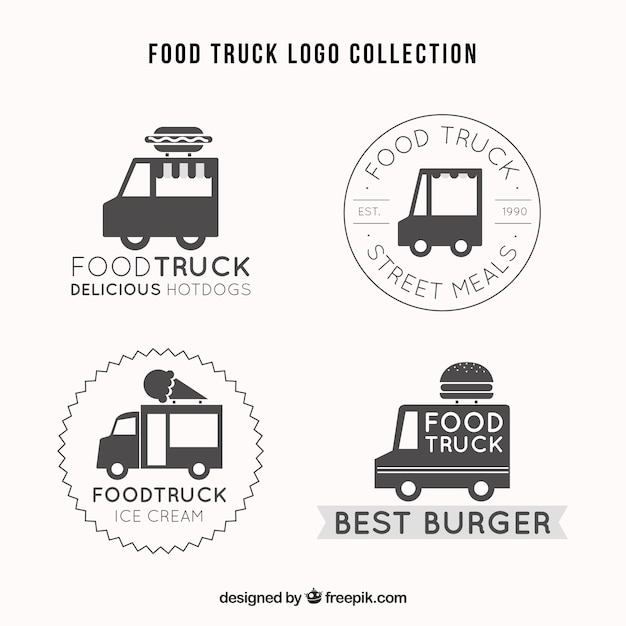 Elegant set of retro food truck logos
