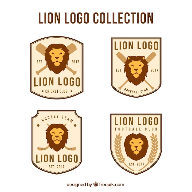 Elegant set of retro lion logos