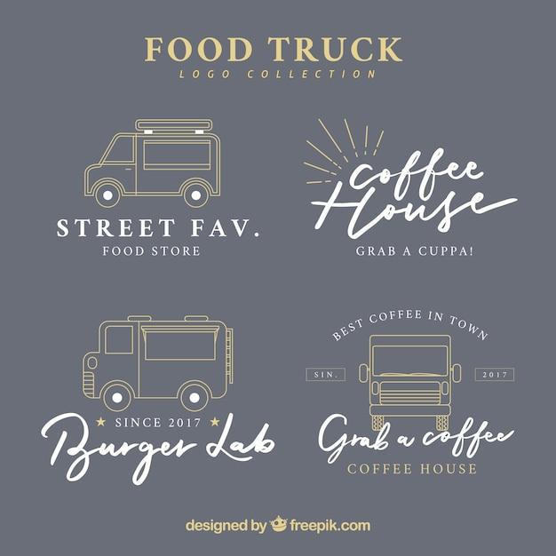 Elegant set of vintage food truck logos