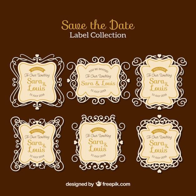 Elegant set of vintage wedding labels
