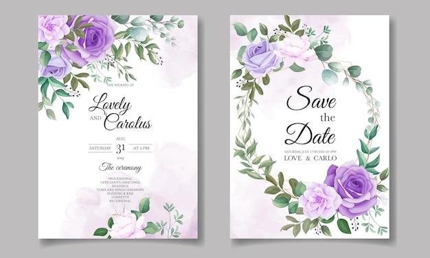 Элегантный набор свадебных пригласительных билетов с красивым фиолетовым цветком Бесплатные векторы