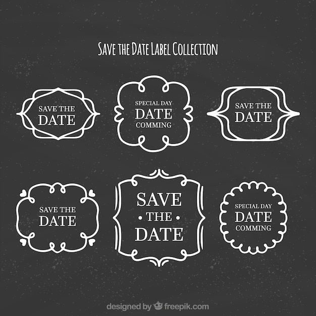 Elegant set of wedding labels on blackboard