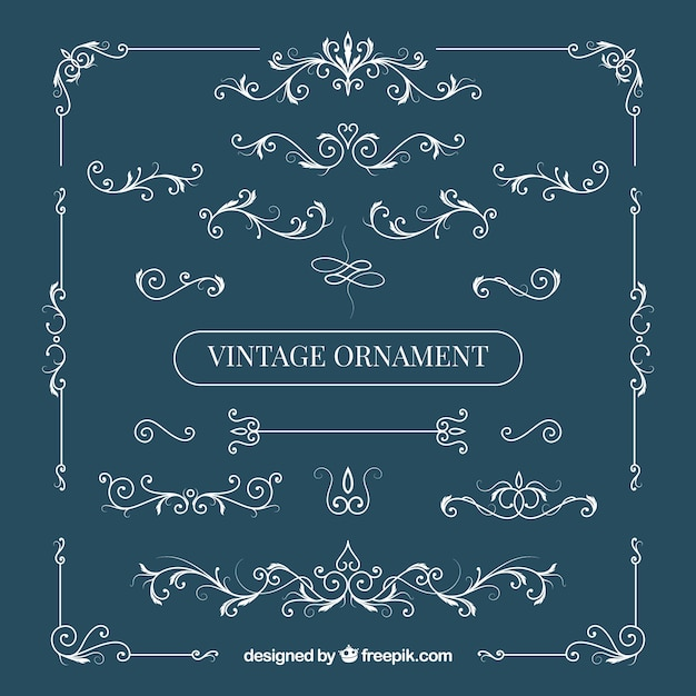 Elegant set of vintage ornaments Free Vector