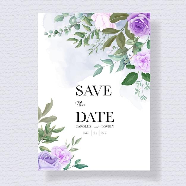 Elegante set di carte invito a nozze con bellissimi fiori viola Vettore gratuito