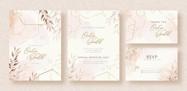 エレガントな形と結婚式の招待状の背景に水彩画を残します Premiumベクター