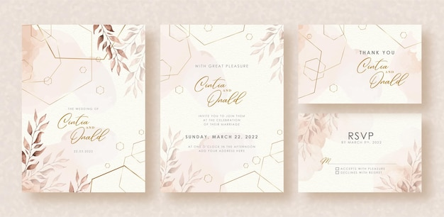 Elegant shapes and leaves watercolor on wedding invitation background