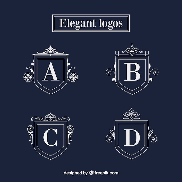 elegant shield logo templates vector free download