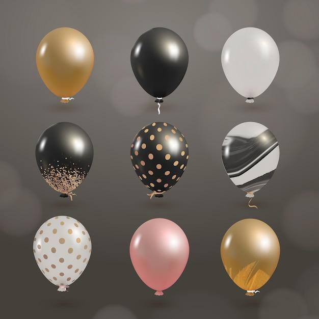 Elegant shiny balloons set Free Vector