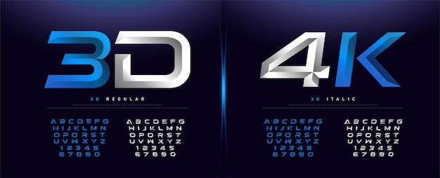 Elegant silver and blue 3d metal chrome alphabet Premium Vector