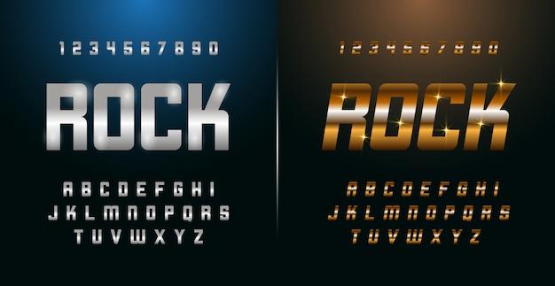 Elegant silver and golden colored metal chrome alphabet font and number set Premium Vector