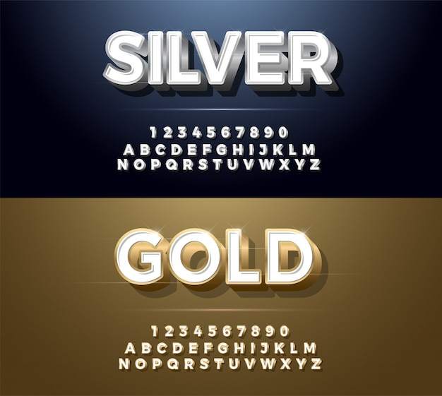 Elegant silver and golden metal chrome alphabet font Premium Vector