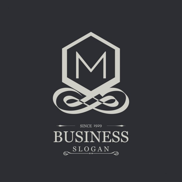 Elegant silver logo with the letter m Free Vector