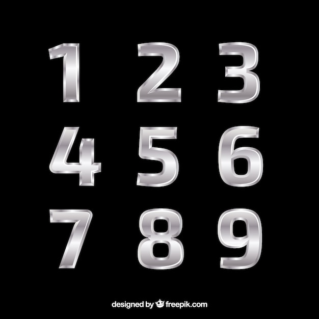 Elegant silver number collection Free Vector