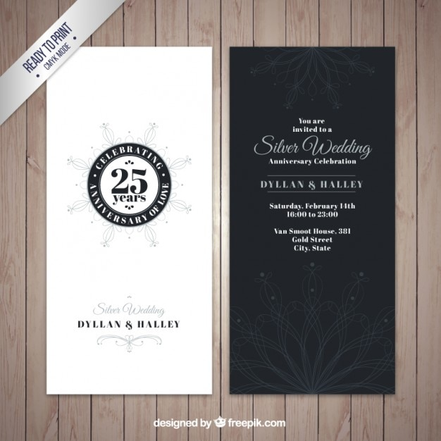 Elegant silver wedding anniversary invitation vector free download elegant silver wedding anniversary invitation free vector stopboris