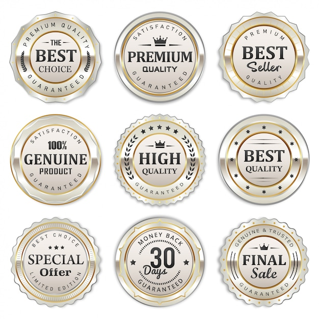 Elegant silver white badges and labels collection Premium Vector