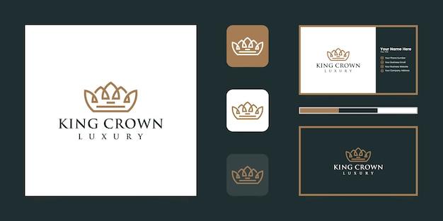 Элегантная простая корона с логотипом, символ королевства, короля и лидера и визитная карточка Premium векторы