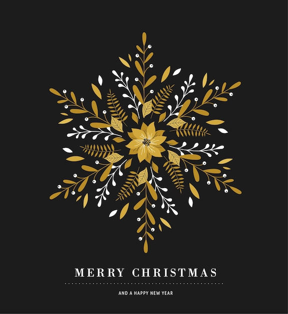 Elegant snowflake poster, winter icon, merry christmas greeting card Premium Vector