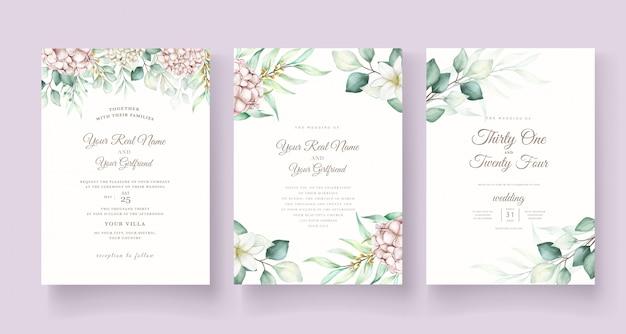 Modello di carta di invito matrimonio floreale morbido elegante Vettore gratuito