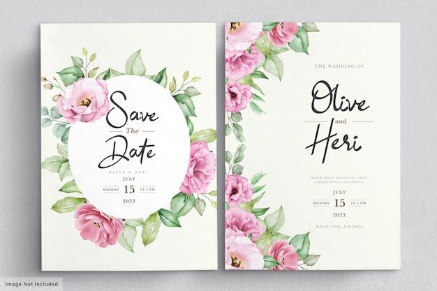 우아한 부드러운 꽃 결혼식 초대 카드 서식 파일 무료 벡터