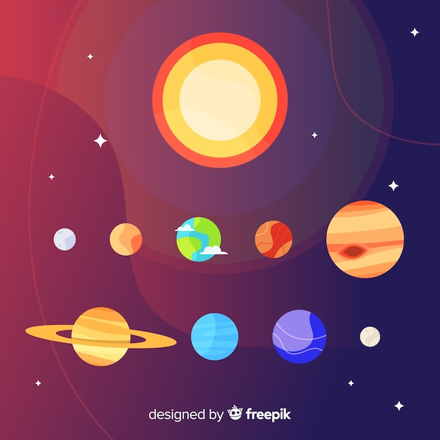 Elegant solar system composition with flat design Free Vector
