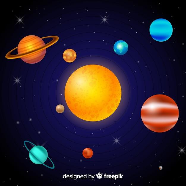 Elegant solar system scheme with realistic design Free Vector