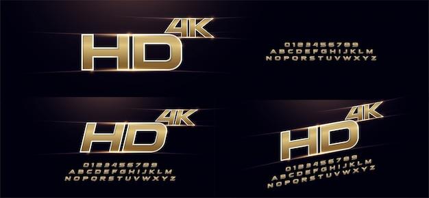Elegant sport gold 3d metal chrome alphabet font Premium Vector
